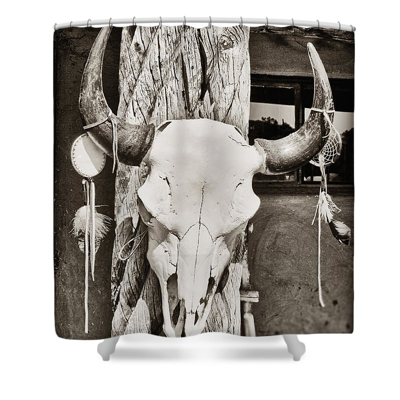 Cow Skull Shower Curtain featuring the photograph Cow Skull by Bryan Mullennix