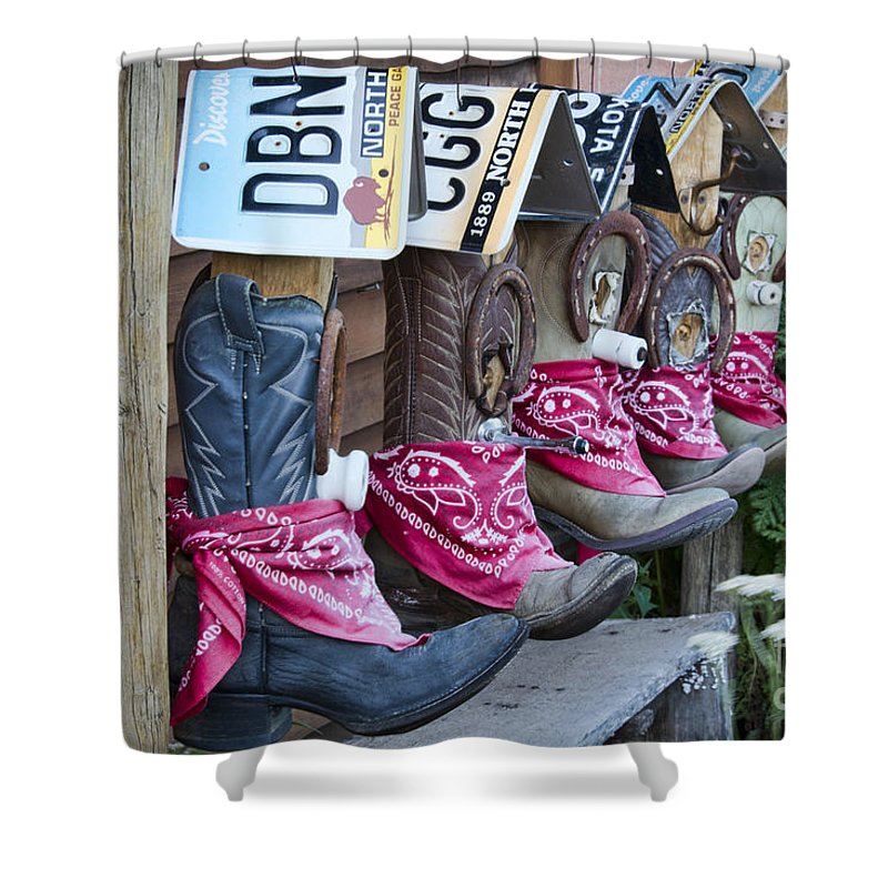 Cowboy Boot Birdhouses Shower Curtain For Sale By David Arment