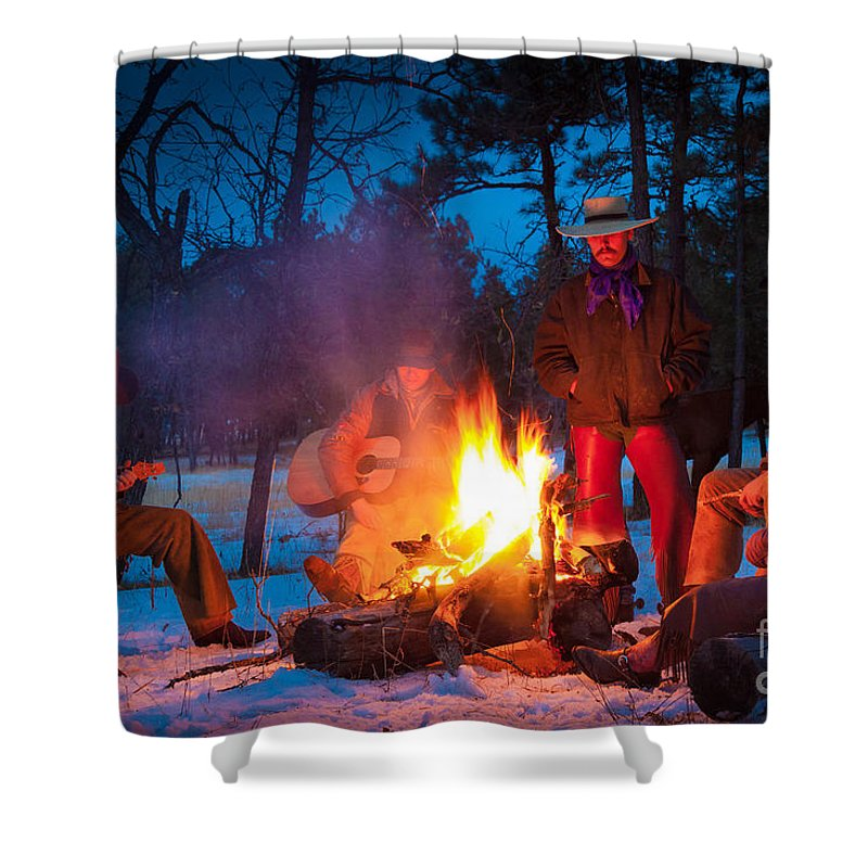 America Shower Curtain featuring the photograph Cowboy Campfire by Inge Johnsson