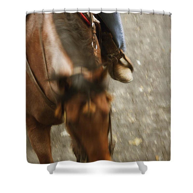 Horse Shower Curtain featuring the photograph Cowboy by Margie Hurwich