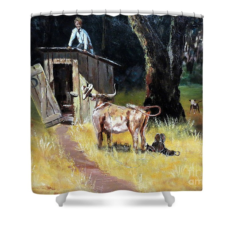 Cowboy Shower Curtain Featuring The Painting On Outhouse By Lee Piper