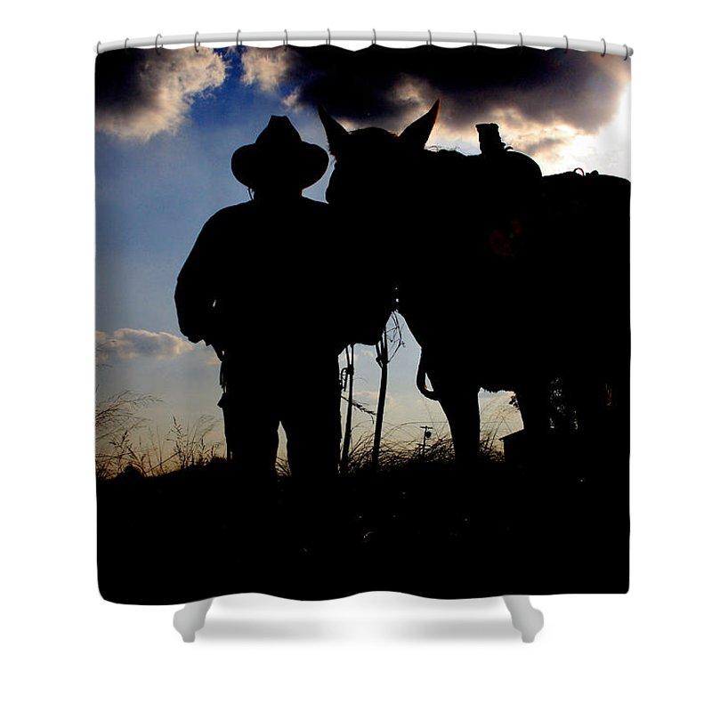 Cowboy Shower Curtain featuring the photograph Cowboy Silhouette by Toni Hopper