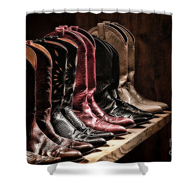 Cowgirl Boots Shower Curtain featuring the photograph Cowgirl Boots Collection by Olivier Le Queinec