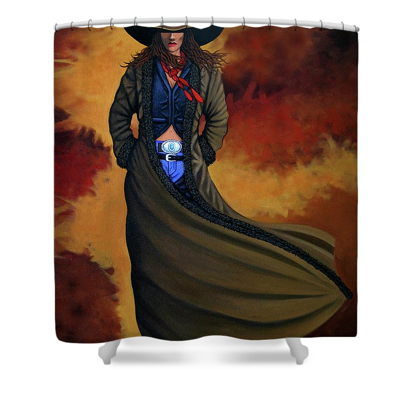 Cowgirl Shower Curtain Featuring The Painting Dust By Lance Headlee