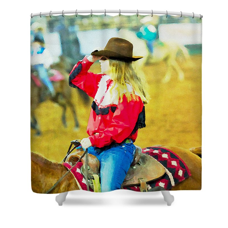 Cowgirl Shower Curtain featuring the photograph Cowgirl Waiting by Alice Gipson
