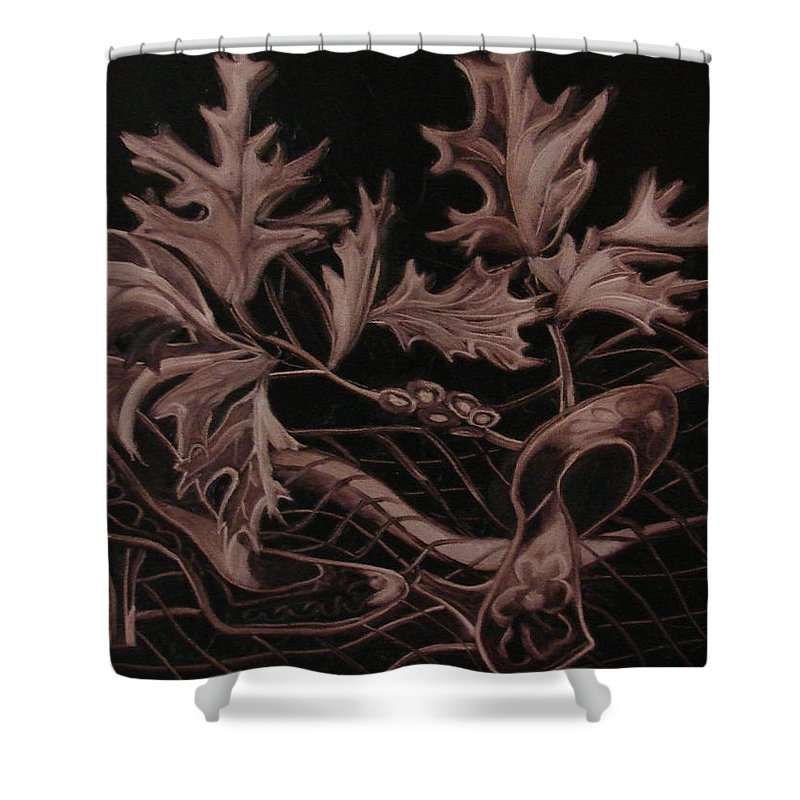 Still Life Shower Curtain featuring the painting Cowgirl's shoes by Kristina Hauk
