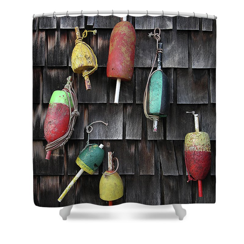 Cedar Tree Shower Curtain featuring the photograph Crab Pot Floats by Photo By Wayne Bierbaum; Annapolis, Maryland
