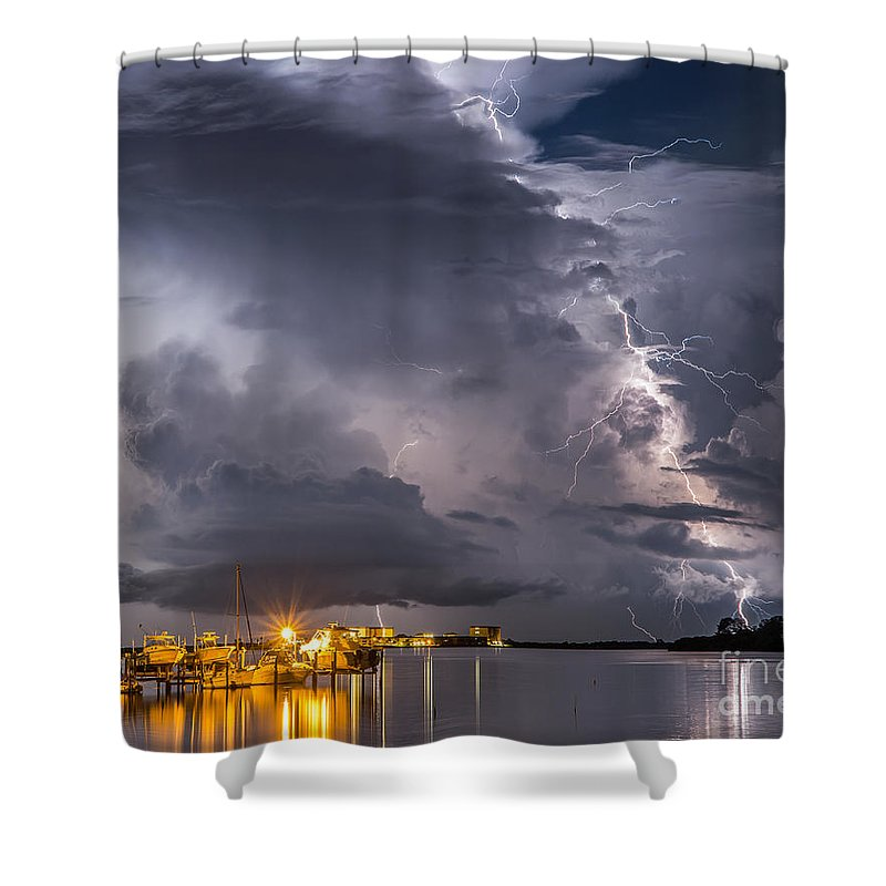 Lightning Shower Curtain featuring the photograph Crackling by Stephen Whalen