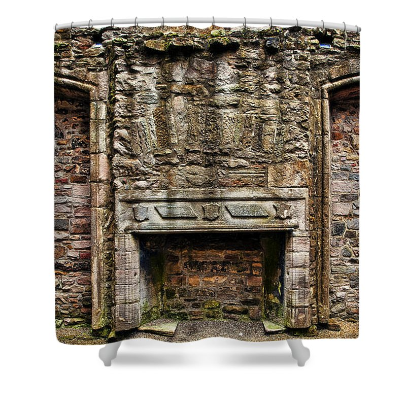 Architecture Shower Curtain featuring the photograph Craigsmillar Castle Fireplace by Marcia Colelli