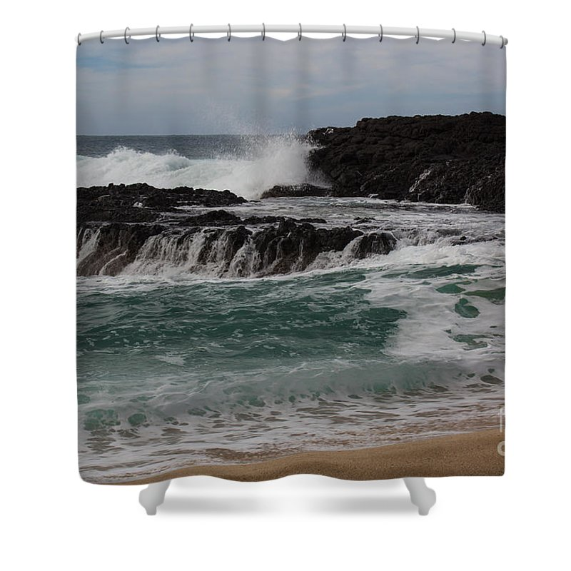 Hawaii Shower Curtain featuring the photograph Crashing Surf by Suzanne Luft