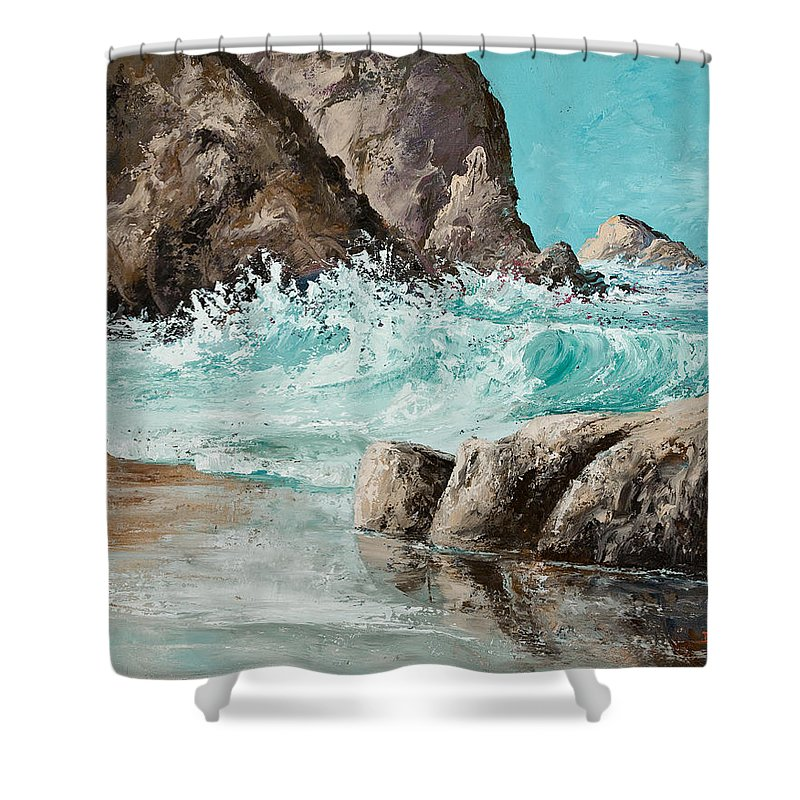 Ocean Shower Curtain featuring the painting Crashing Waves by Darice Machel McGuire