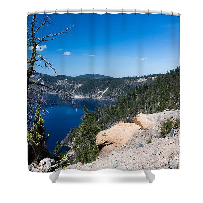 Caldera Shower Curtain featuring the photograph Crater Lake And Moss Covered Tree by Dan Hartford