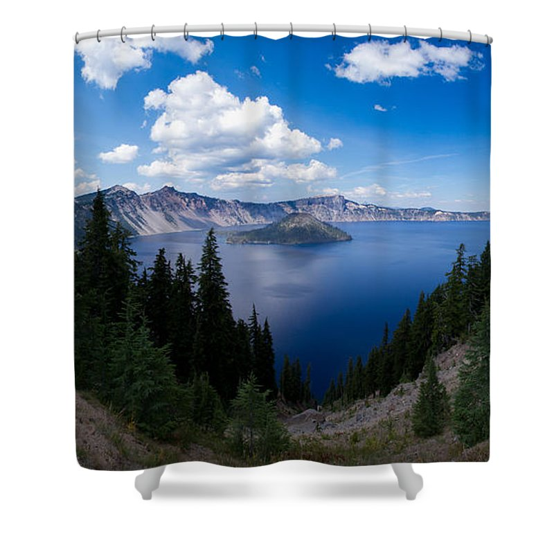 Cauldera Shower Curtain featuring the photograph Crater Lake Pnorama - 2 by Dan Hartford