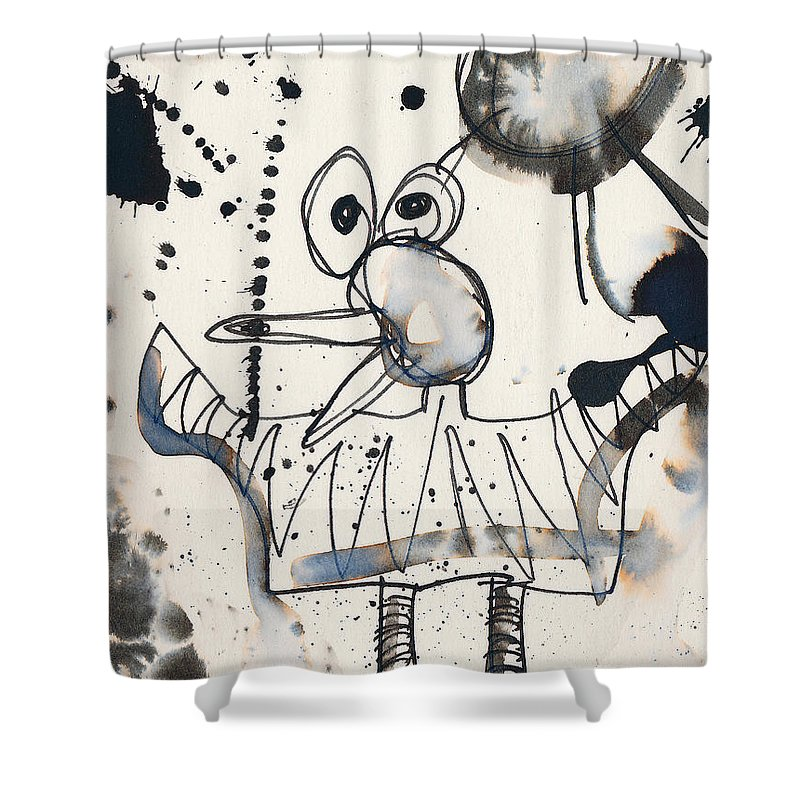 Bird Shower Curtain featuring the painting Crazy Bird by Christopher Winkler