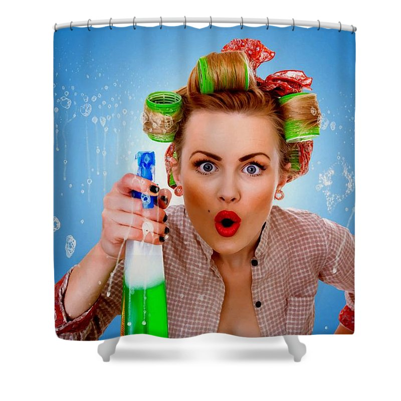 Girl Shower Curtain featuring the digital art Crazy Girl Cleaning by Gabriel T Toro