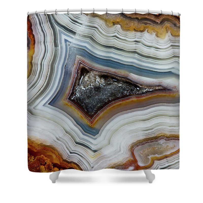 Mineral Shower Curtain featuring the photograph Crazy-lace Agate From Mexico, Close-up by Darrell Gulin