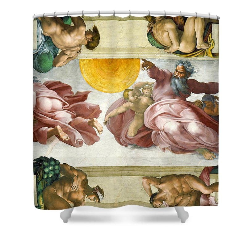 Creation Of Sun Shower Curtain Featuring The Painting Creation Of Sun Moon  And Planets Within The