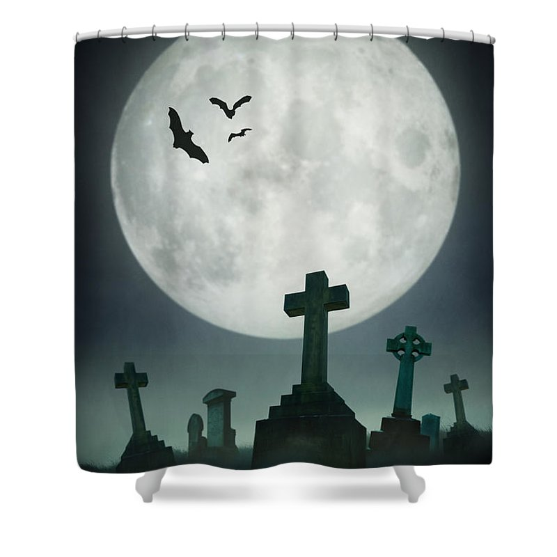 Creepy Cemetery With Full Moon Shower Curtain For Sale By Lee Avison