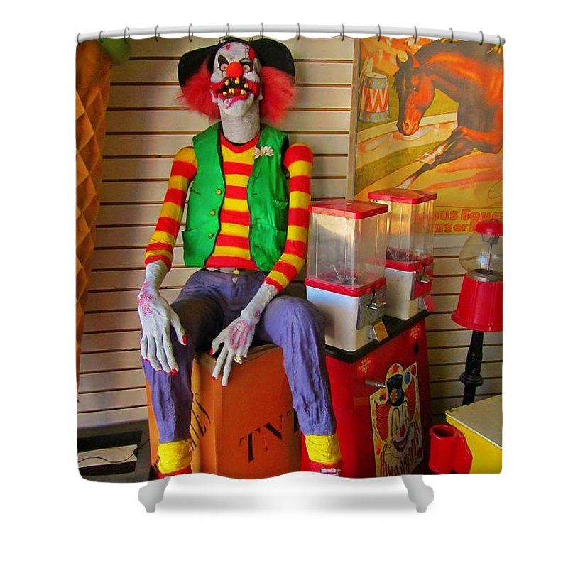 Creepy Clown Shower Curtain featuring the photograph Creepy Clown by John Malone