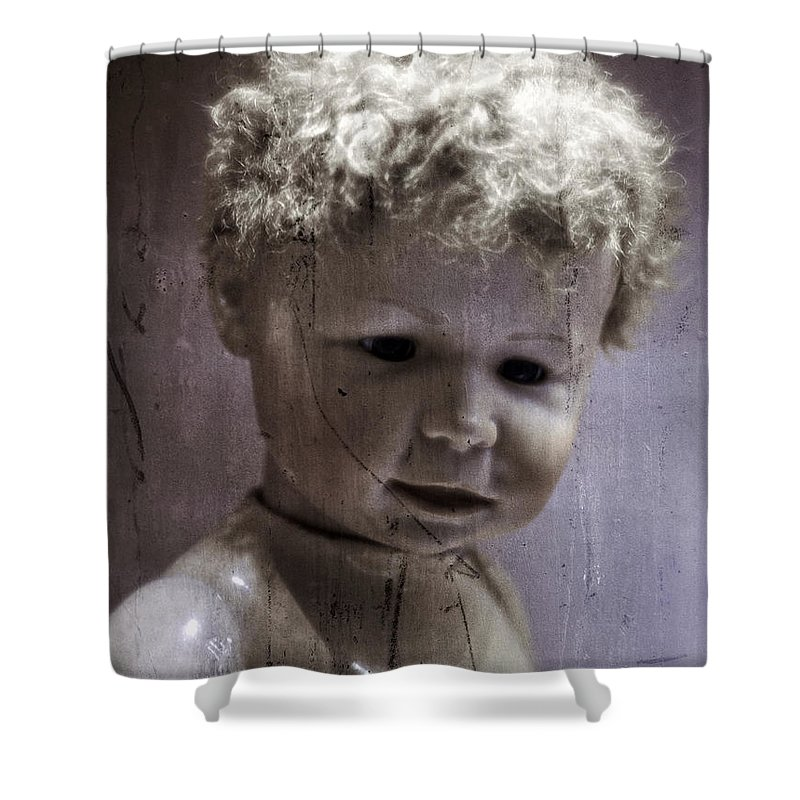 Doll Shower Curtain featuring the photograph Creepy Old Doll by Edward Fielding