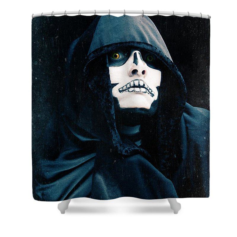 Person Shower Curtain featuring the photograph Creepy Skeleton by Sharon Dominick
