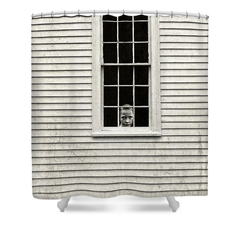 Window Shower Curtain Featuring The Photograph Creepy Victorian Girl Looking Out By Edward Fielding