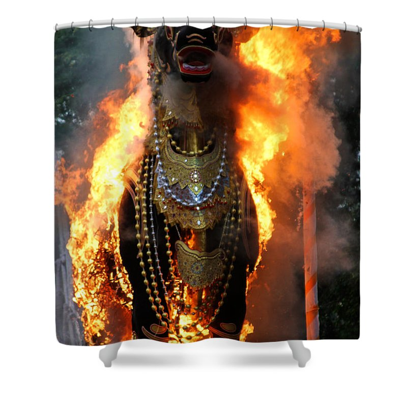 Burning Bull Shower Curtain featuring the photograph Balinese Burning Bull by Venetia Featherstone-Witty
