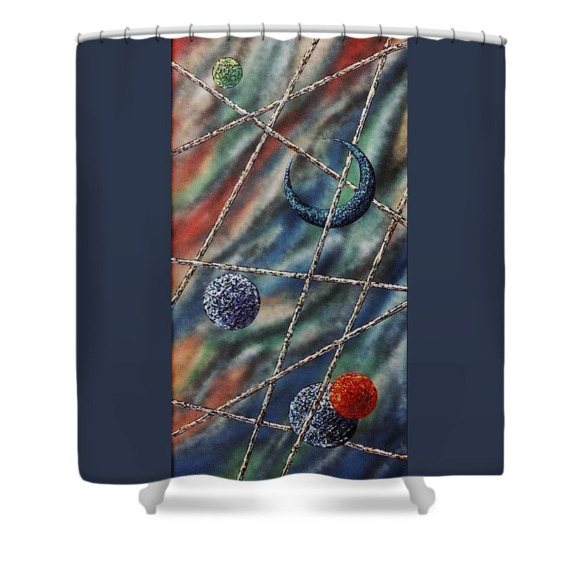 Abstract Shower Curtain featuring the painting Crescent by Micah Guenther