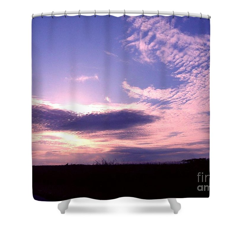 Cloudy Shower Curtain featuring the photograph Crimped Clouds by Minding My Visions by Adri and Ray