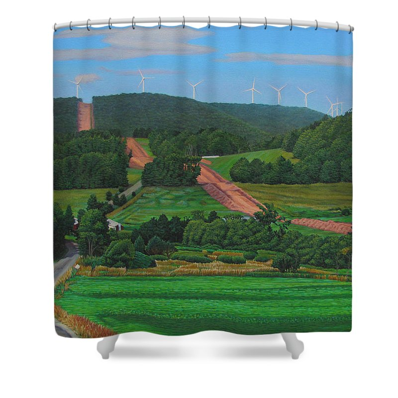 Landscape Shower Curtain featuring the painting Cross Roads by Kenneth Cobb