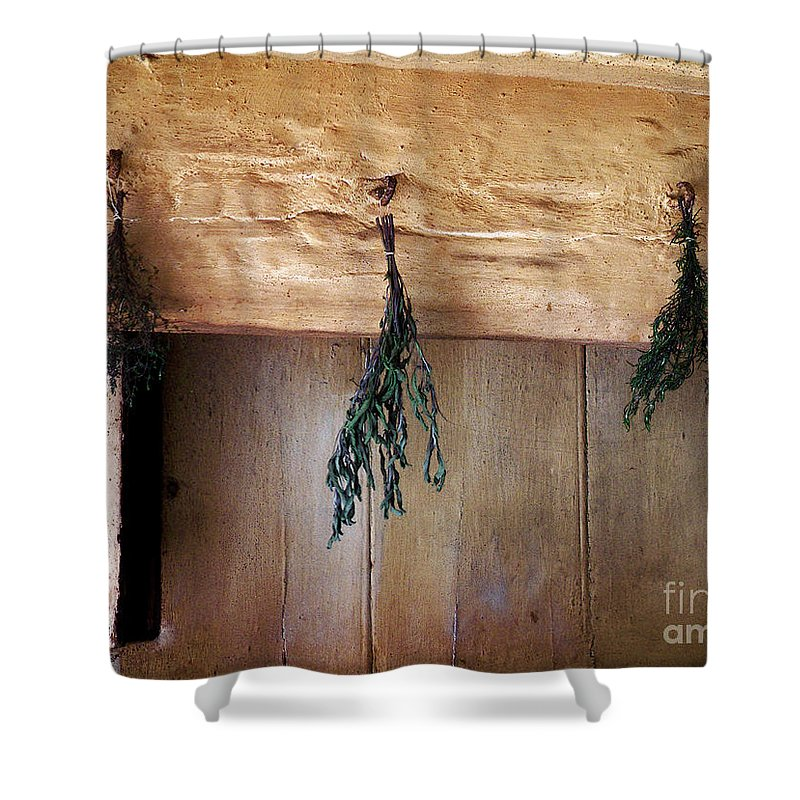 Herbs Shower Curtain featuring the painting Crossbeam With Herbs Drying by RC DeWinter