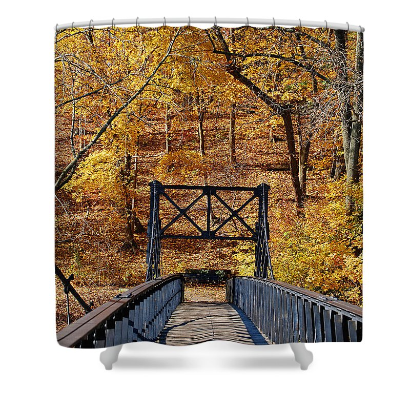 Bridge Shower Curtain featuring the photograph Crossing Over by Skip Willits