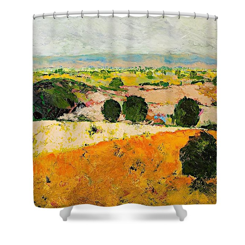 Landscape Shower Curtain featuring the painting Crossing Paradise by Allan P Friedlander