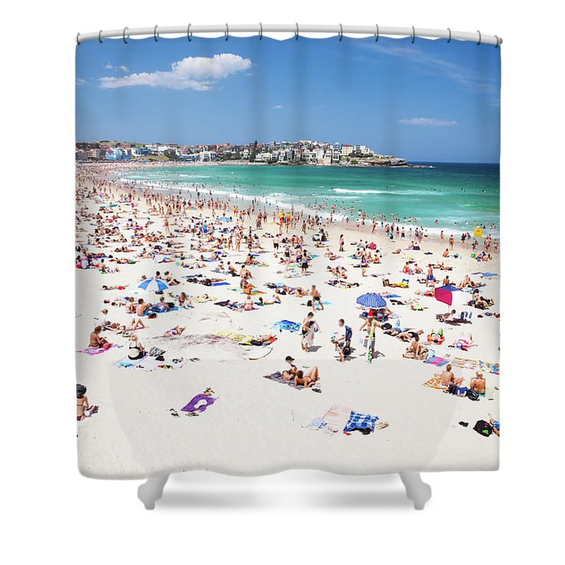 Water's Edge Shower Curtain featuring the photograph Crowded Bondi Beach, Sydney, Australia by Matteo Colombo
