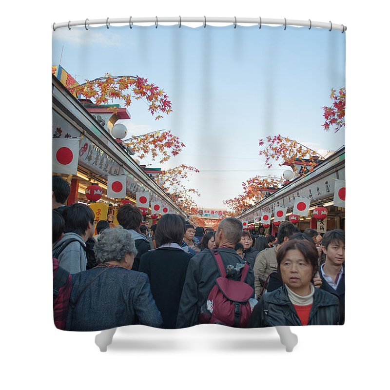 Asakusa Shower Curtain featuring the photograph Crowds Shopping by Jill Mitchell
