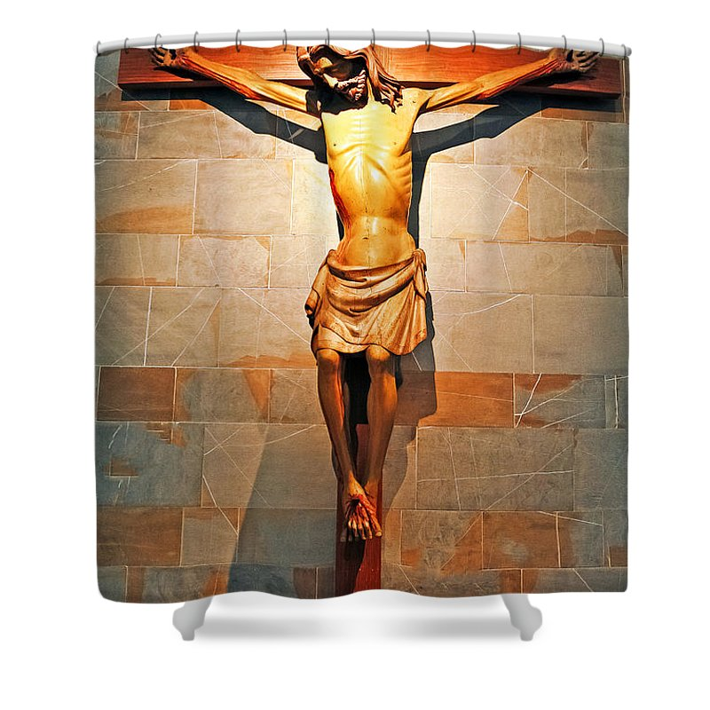 Travel Shower Curtain featuring the photograph Crucifixion by Elvis Vaughn