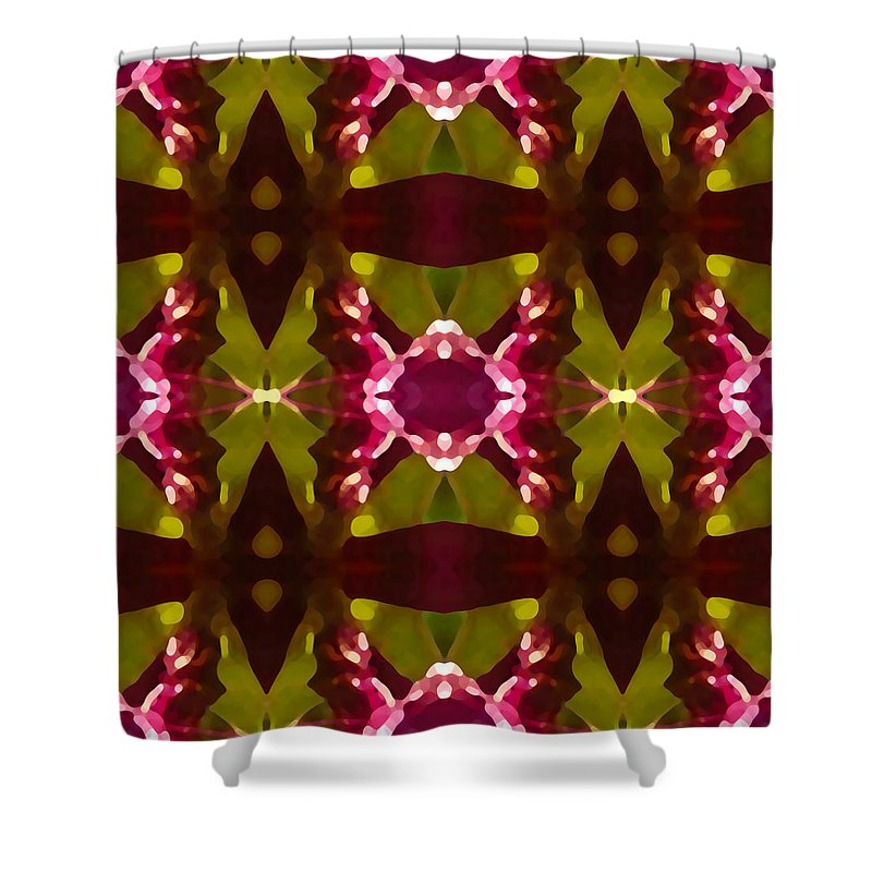 Abstract Shower Curtain featuring the painting Crystal Butterfly Pattern by Amy Vangsgard