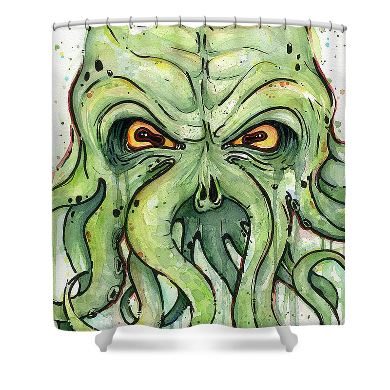 Cthulu Shower Curtain Featuring The Painting Cthulhu Watercolor By Olga Shvartsur
