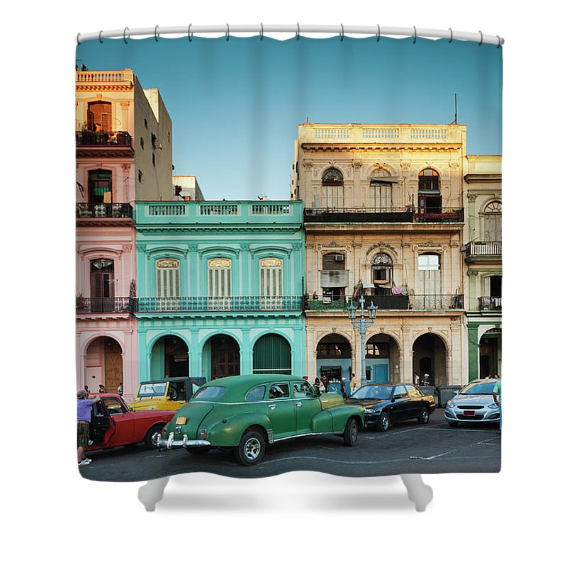 People Shower Curtain featuring the photograph Cuba, Havana, Havana Vieja, Outside T by Walter Bibikow