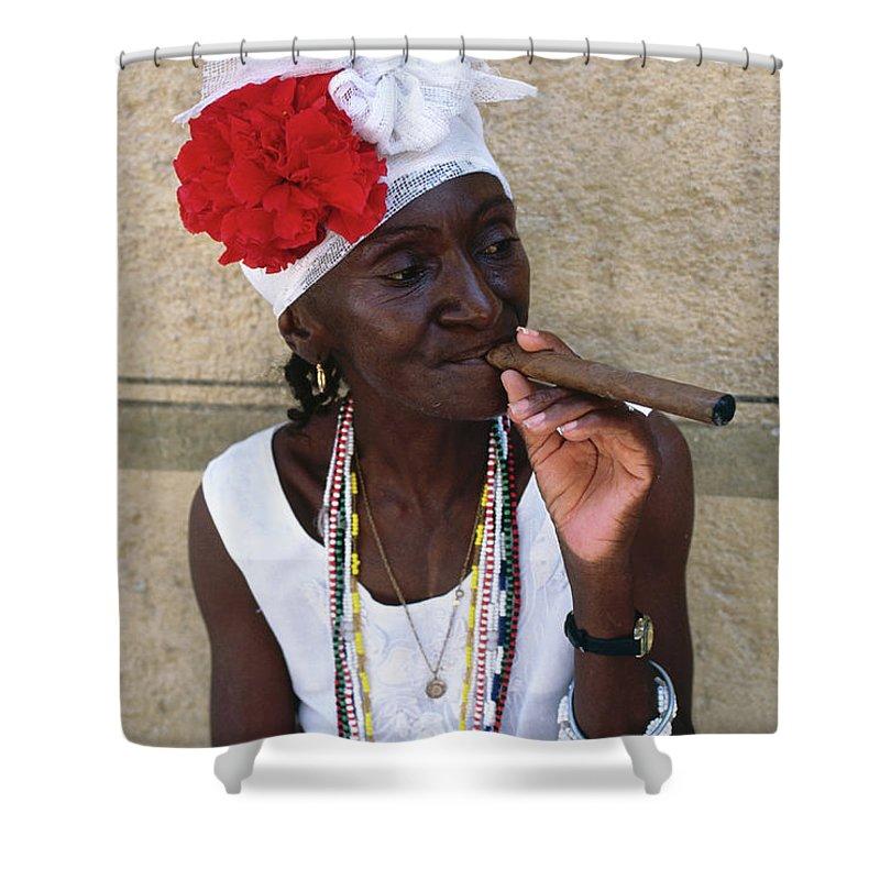Smoking Shower Curtain featuring the photograph Cuban Woman Smoking Cigar, Plaza De by Dallas Stribley