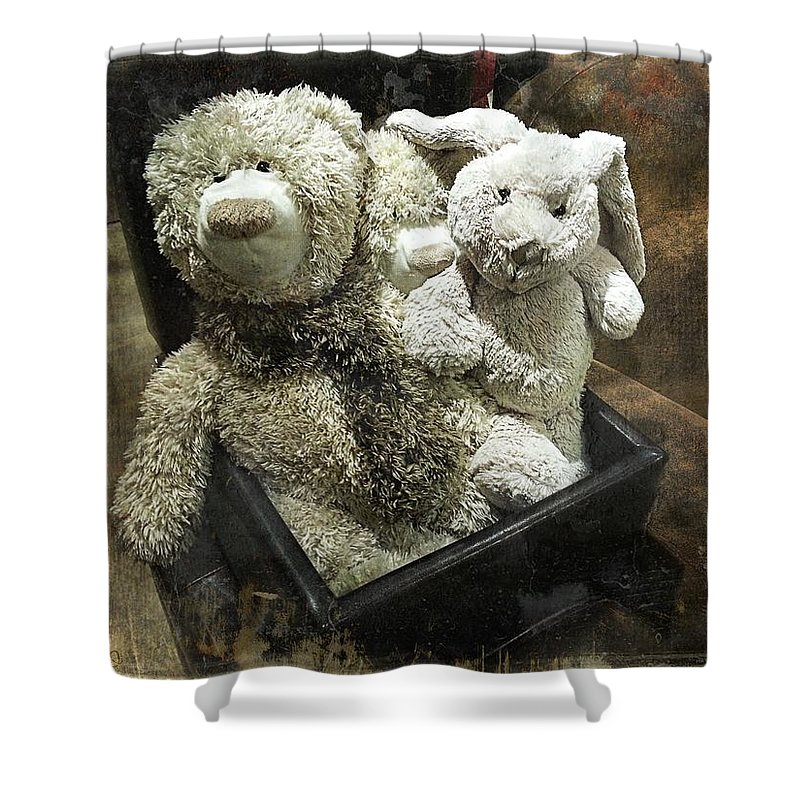 Teddy Shower Curtain featuring the photograph Cuddle Toys by Barbara Orenya