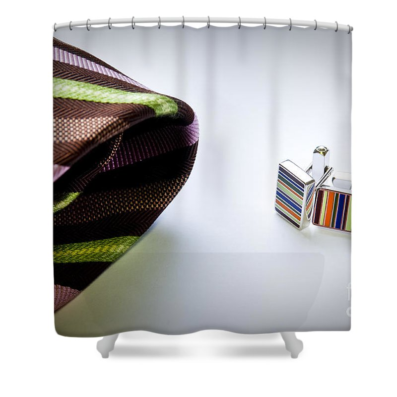 Apparel Shower Curtain featuring the photograph Cuff Links by Tim Hester