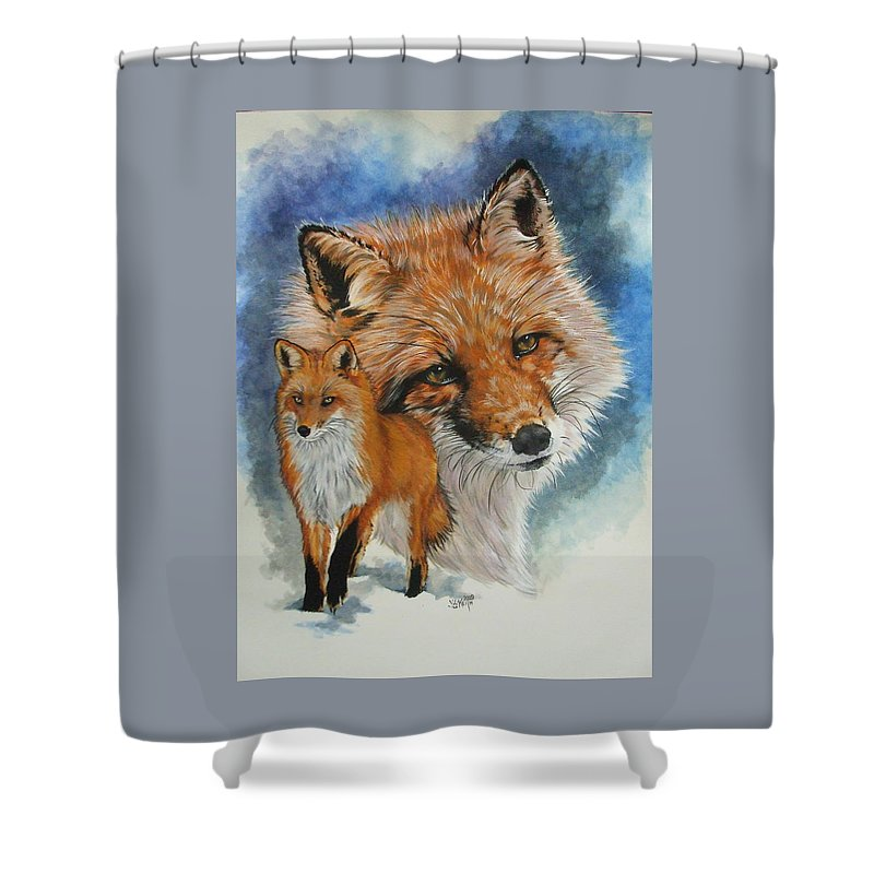 Fox Shower Curtain featuring the mixed media Cunning by Barbara Keith