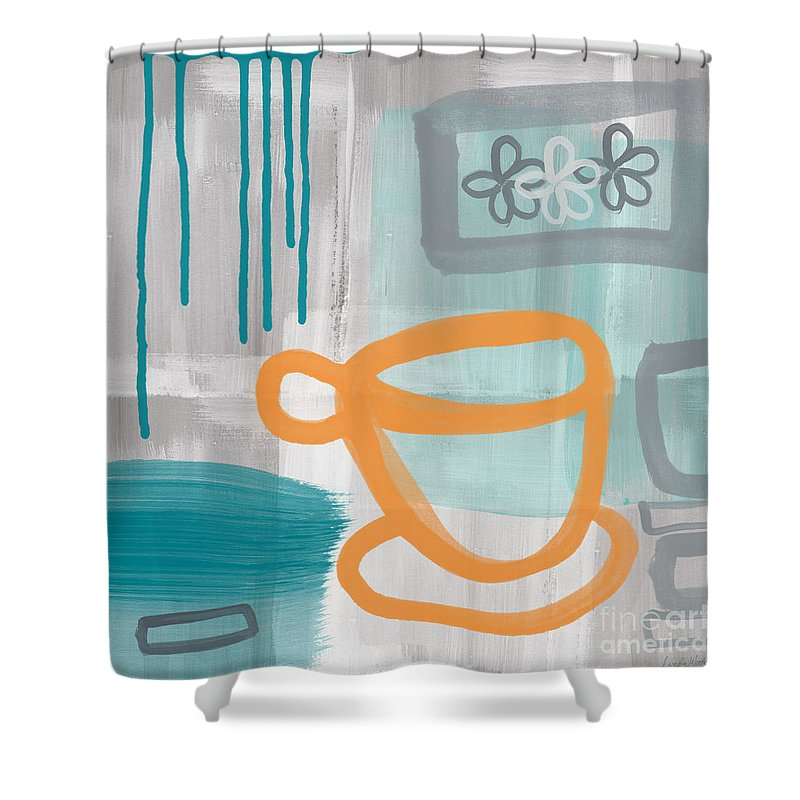 Coffee Shower Curtain featuring the painting Cup Of Happiness by Linda Woods
