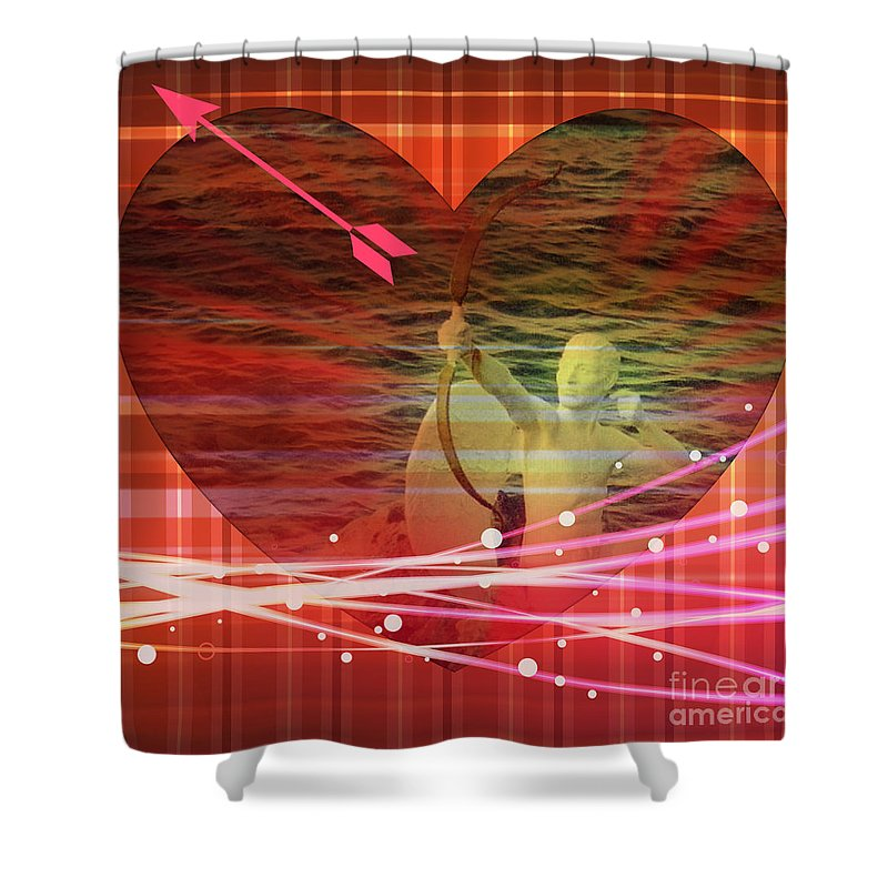 Valentine Card Shower Curtain featuring the photograph Cupid by John Malone