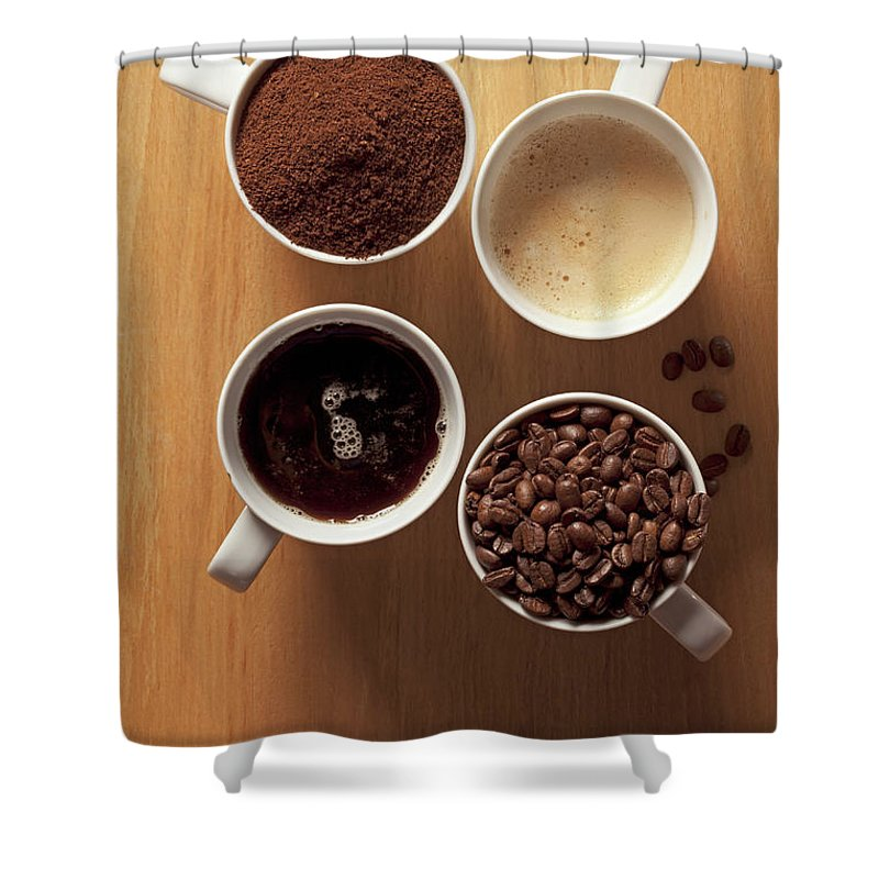 Shadow Shower Curtain featuring the photograph Cups Of Coffee And Coffee Beans by Larry Washburn