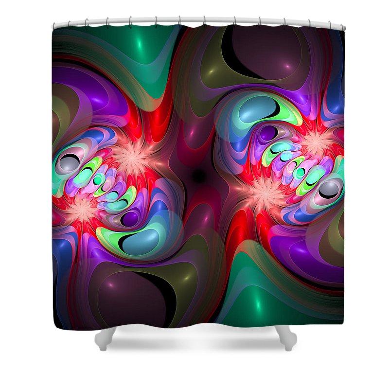 Curve Shower Curtain featuring the digital art Curbisme-37-b by RochVanh