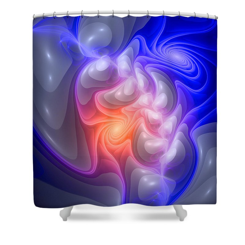 Curve Shower Curtain featuring the digital art Curbisme-86-b by RochVanh