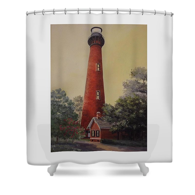 Lighthouse Shower Curtain featuring the painting Currituck Lighthouse by Wanda Dansereau