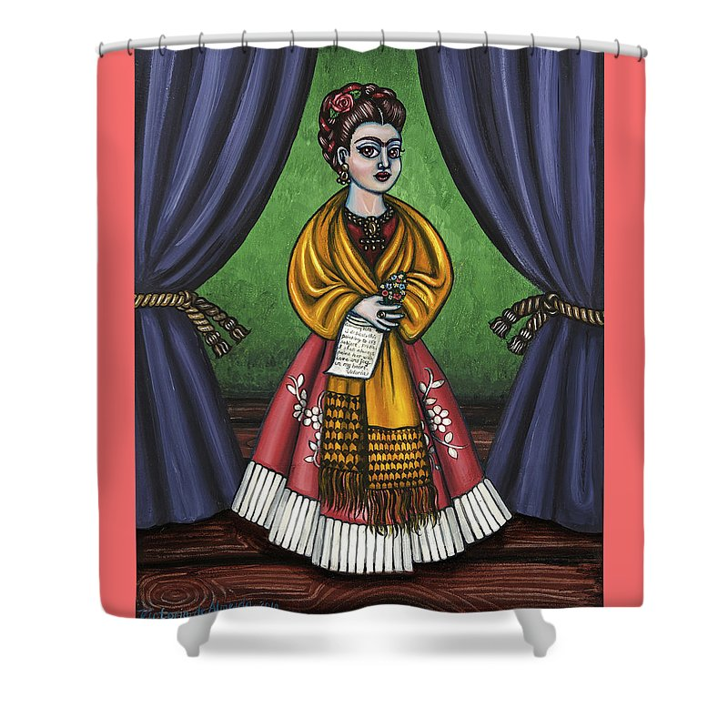 Folk Art Shower Curtain featuring the painting Curtains For Frida by Victoria De Almeida